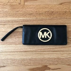 Michael Kors Black Leather Logo Wristlet